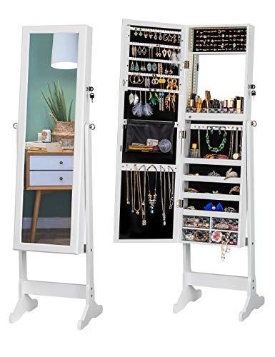 LUXFURNI LED-Licht Schmuckschrank Standspiegel Make-up abschließbarer Schrank, großer Aufbewahrungsbehälter mit Schubladen (Weiß)