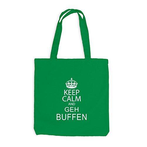 Jutebeutel - Keep Calm and Geh Buffen - Fun Chillen Kellygrün