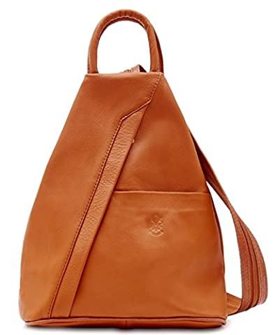 Handbag Bliss Super Soft Light Weight Italian Leather Rucksack/Shoulder Bag (Light Tan)