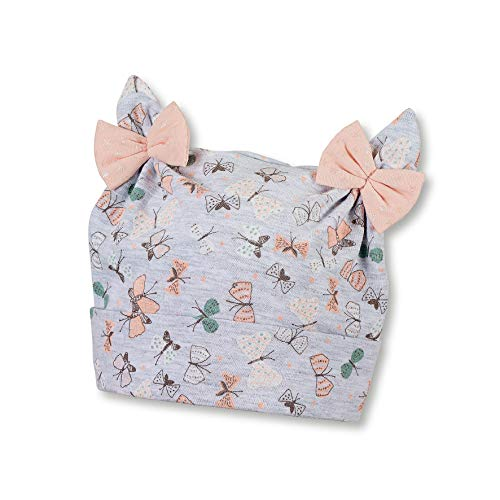Sterntaler Knotenmütze für Mädchen mit Schleifchen, Alter: 9-12 Monate, Größe: 47, Silber