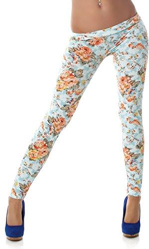 PF-Fashion Damen Leggings Leggins Body Slim Hose Karotte Lang Design Tapered Tarnmuster Blumen Batik Türkis 38/40