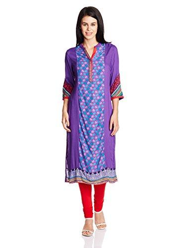 Rangriti Women's Straight Kurta (INDIAN C1087_Purple_32)