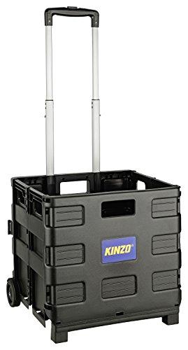 Kinzo Transporttrolley Faltbar | 25kg Transportgewicht | Klappbare Einkaufskiste | Putzwagen | fahrbare Transportkiste | Platzsparender Transport | Ideal für Camping, Einkauf, Urlaub | 38x36x33cm