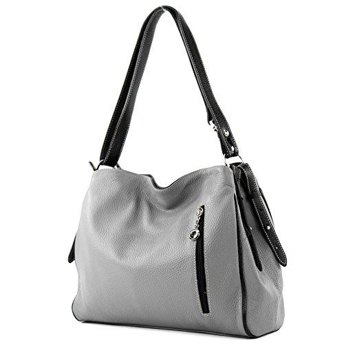 Leder-reißverschluss-vordere Tasche (modamoda de - T119 - ital Schulter-/Umhängetasche aus Leder, Farbe:Grau/Schwarz)