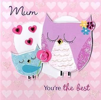 """ Mum "" Handmade Mother's Day Owl Card"