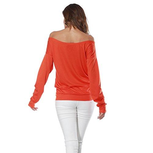Sentao Femmes Casual Automne- Hiver Sweat-shirt Manches Longues Chemiser Lâche Haut Blouse T-shirt Orange
