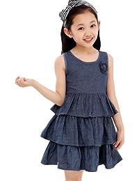 Dayiss Kinder Mädchen Sommerkleid Rundhals ärmellos Reißverschluss Volantkleid