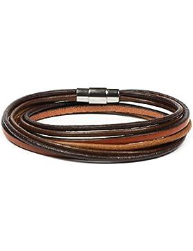 SIMARU Lederarmband Wickelarmband mit Edelstahlverschluss inkl. Magnet für Herren & Damen Armband mit Premium...