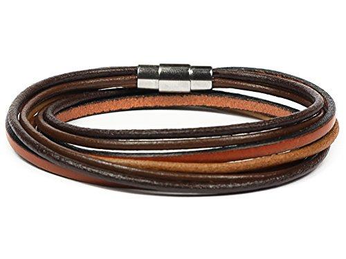 Simaru Lederarmband Wickelarmband mit Edelstahlverschluss inkl. Magnet für Herren & Damen Armband mit Premium Qualität braun/rotbraun in S bis XL (L - braun)