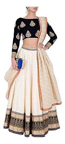 Varona Creation Women's Embroidary Lehenga Choli (Color: Black And Cream Free Size)