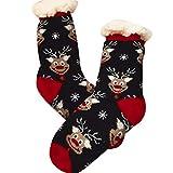 NimbleMinLki Babbo Natale Pupazzo di Neve Renna da Uomo e da Donna Agnello Cashmere Caldo Calzini del Tubo–Babbo Natale, Lega, Reindeer