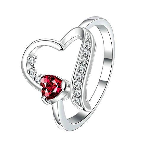 Aeici Schmuck Ringe Silber Damen Herzform Rubin CZ Größe 57 (18.1)