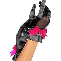 Ladies Burlesque Black Hot Pink Sexy satin Gloves One size FG4