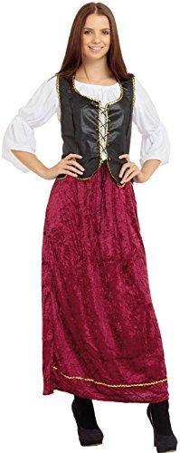 Damen Mittelalter Dienst Dirndel historisch Inn Aufpasser Kostüm Kleid Outfit UK 10-14