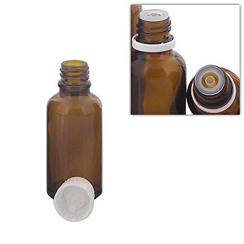 Kosmetex Braunglas Flasche mit Tropfer DIN 18 Gewinde, Tropfflasche 30 ml, 30 ml