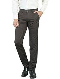 Teralee Men's Grey Slim Fit Cotton Formal Trouser