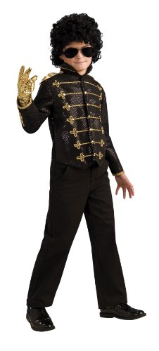 Costume Michael Jackson Deluxe Military Jacket Bambino - Large 8 -10 Anni 148 cm, Nero