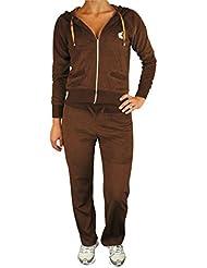 Damen Sexy Voller Traininganzug Jogging Kapuzen Oberteil Anzug Mit Strass Krone