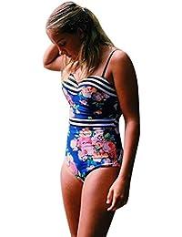 Bañadores Deportivas Mujer, Xinan Bandage One Piece Bikini Monokini Push Up Traje De Baño De Baño Acolchado Bra Azul