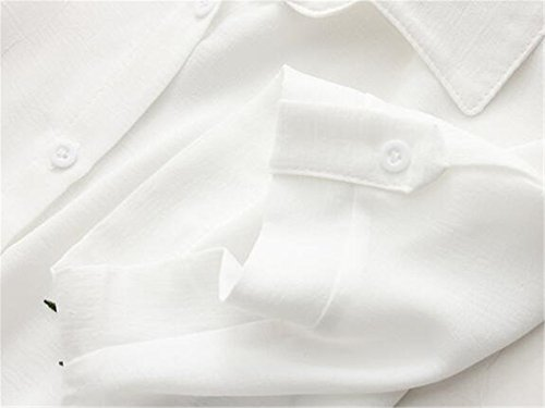Gogofuture Camicie Donna Classico Manica Corta T-Shirts Ricamato Maglietta Casual Camicetta Eleganti Bluse Top Popolare White14