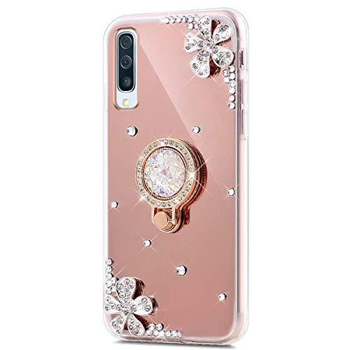 Kompatibel mit Huawei P30 Lite Hülle Spiegel Schutzhülle,Bling Glitzer Strass Diamant Kristall Blumen TPU Silikon Hülle mit Ring 360 Grad Ständer Soft Silikon Handyhülle Tasche Case,Rose Gold