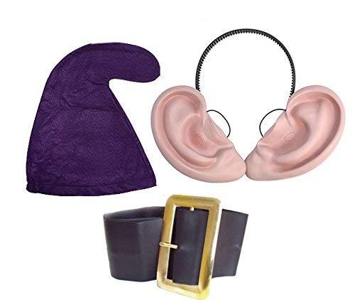 jokeshop. COM Set Dopey Sieben Zwerge/Dwarves GNOME Hat (Lila Hat, Gürtel & Big Ohren Set) Snow Weiß Fancy Kleid ()