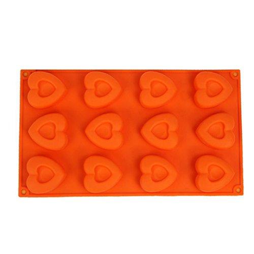 FantasyDay® Premium Antihafteigenschaft Silikon Backform / Muffinform für Muffins, Cupcakes, Kuchen, Pudding, Eiswürfel und Gelee - Herz Form Brotbackform für eindrucksvolle Kreationen, hochwertige Silikon-Kuchenform