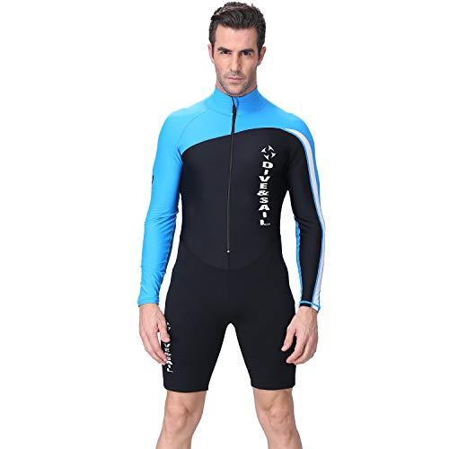GYFY Pärentauchensanzug Männer Vier Jahreszeiten Siam Langen Ärmel-Sonnenschutz Anzug Sonnenschutz Lycra Badeanzug Schnorchel-Surf-Kleidung,Blue,XL