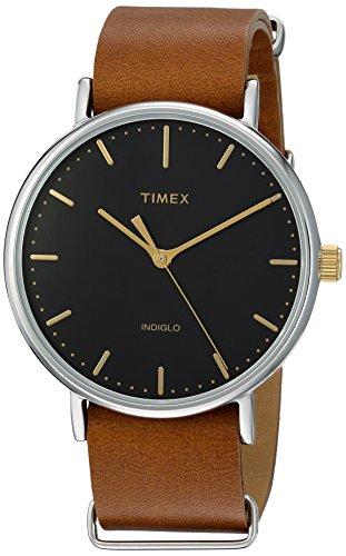 Timex Weekender Fairfield 41mm Slip-Thru Watch - Black/Brown Leather
