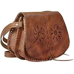 Bolso de mujer de piel, vintage artesanal cuero (flores)