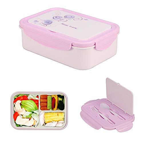 1050ml scatola da pranzo in plastica viola, bento lunch box con 3 scomparti e posate (forchetta e cucchiaio), contenitore per il pranzo ideale per colazione e snack scolastici per bambini e adulti