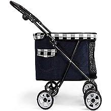 HUADEGO Pet Stroller-4 Ruedas Impermeable Portable para Gatos/Perros con Canasta de Almacenamiento