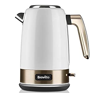 Breville VKT142 New York Collection Electric Jug Kettle, Fast Boil, 3 KW, 1.7 liters, White and Gold