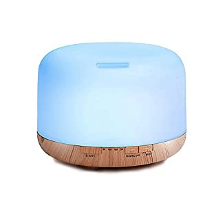 Decdeal – 500ml Humidificador Ultrasónico de Aire con Mando a Distancia, Lámpara Difusora de Aromas Aceite Esencial Aromaterapia Mist Maker