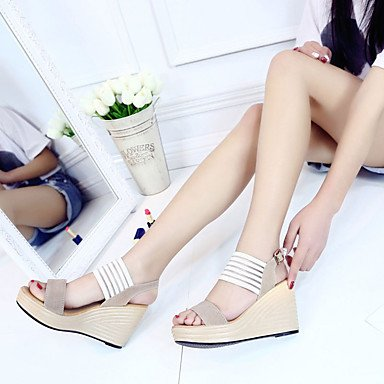 Sommer Schuhe Damen Sandalen Lässig-Wildleder-Keilabsatz-Komfort-Schwarz Mandelfarben Black