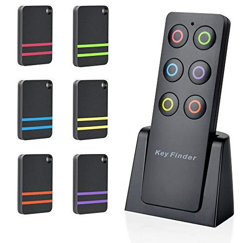 Evershop Schlüsselfinder Wireless Key Finder Locator Für Schlüssel Geldbörse Haustiere Handy Gepäck und Taschen,Fernbedienung Anti-verlorenes Tag,1 RF-Sender & 6 Empfänger