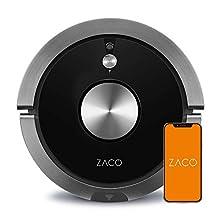 ZACO A9s – Robot Aspirapolvere – Robot Lavapavimenti e Aspirapolvere 3 in 1 con Sistema di navigazione PanoView – Controllo tramite App e Alexa – Autoricarica – Nero carbone