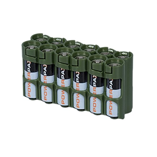 PowerPax Rangement pour 12 piles AA Caddy – Vert militaire