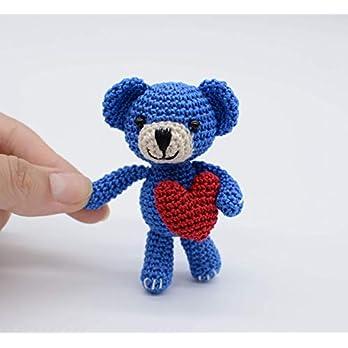 Blauer Teddybär mit roten Herzen, Plüschtiere, Miniatur Geschenke