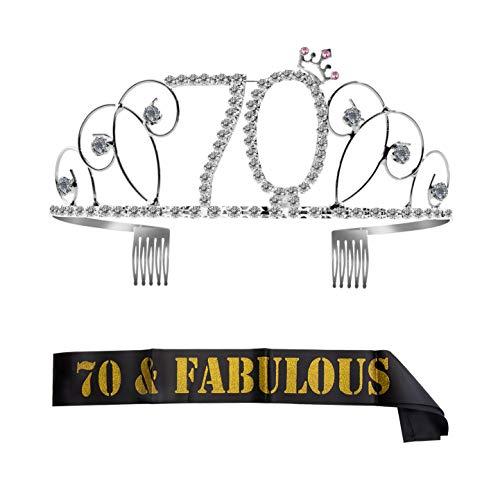 ZOEON Geburtstags-Krone 70. Geburtstags Kristall Tiara Krone mit Geburtstags-Schärpe