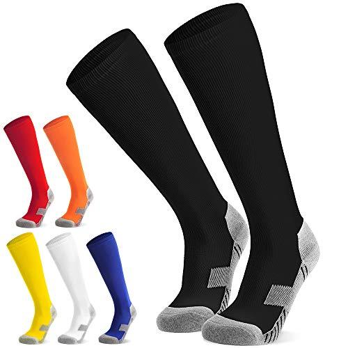 Fußballsocken Stutzen Kinder Jugendliche Socken Fußball Strümpfe - Sportsocken Trainingssocke Sockenstutzen - für Fußball, Laufen, Training (Schwarz M)