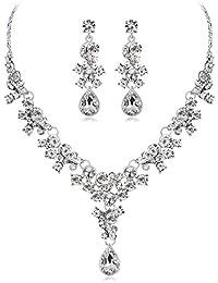 13d264f25f69 Conjunto Collar Pendientes Mujeres Joyería de Plata Plateado con Rojo  Imponente de cristal Regalo Chica