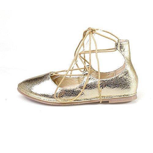 AllhqFashion Damen Blend-Materialien Rein Schnüren Rund Zehe Ohne Absatz Flache Schuhe Golden