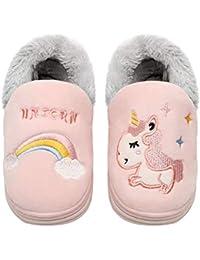 Zapatillas de algodón para interior con diseño de unicornio, antideslizantes, cómodas, cálidas, suaves para invierno para niños, tallas 18 a 25, de Coralup