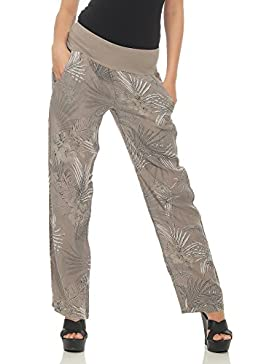 malito Mujer Pantalón Lino Jungle Print Pantalones Ocio Chino 7790