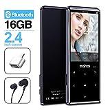 Lettore MP3 MYMAHDI con Bluetooth 4.2, pulsanti touch screen da 2,4 pollici, lettore audio digitale portatile senza perdita da 16 GB con radio FM, registratore vocale, supporto fino a 128 GB