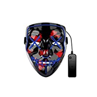 Glowing Mask LED Luminous Mask Prom Bar Halloween Mask Double line stitch Mouth Terror Mask Halloween Party Horror Cos Ghost Blue Luminous Props