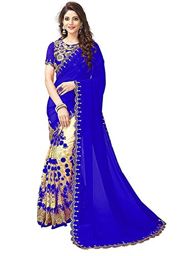 HV Creation Net And Georgette blue Saree for women
