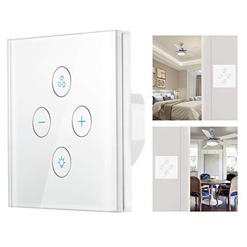 Interruptor de luz WiFi inteligente, Lemonbest WiFi Ventilador de techo inteligente Interruptor...