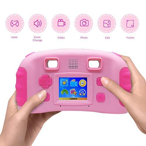 winnes Caméra de Jeu numérique pour Enfants, Appareil Photo numérique pour enregistreur vidéo avec écran de 1,77 Pouces, 4 Jeux, Cadeau pour Les Enfants, Rose
